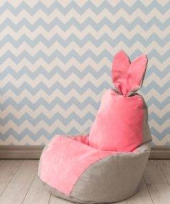Кресло Мешок Зайчик Серо-Розовый
